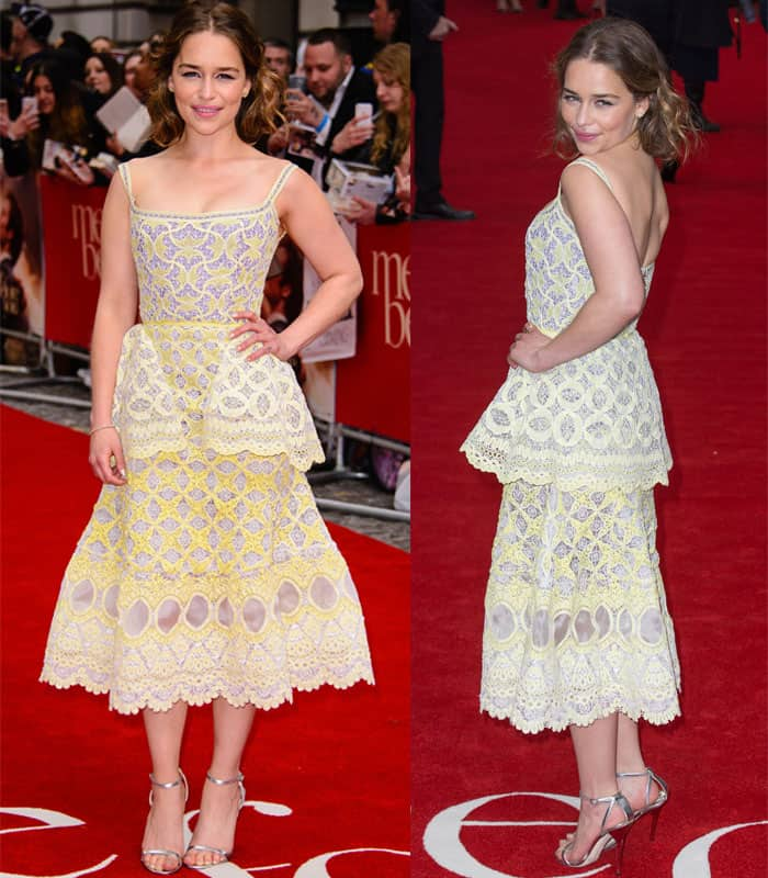 Emilia Clarke poses playfully on the red carpet before the UK premiere of Me Before You in London on May 25, 2016