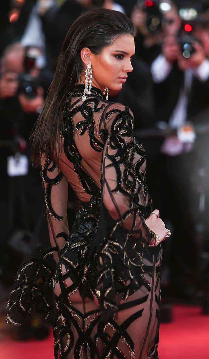 Kendall Jenner set the red carpet on fire in this custom see-through creation from Roberto Cavalli