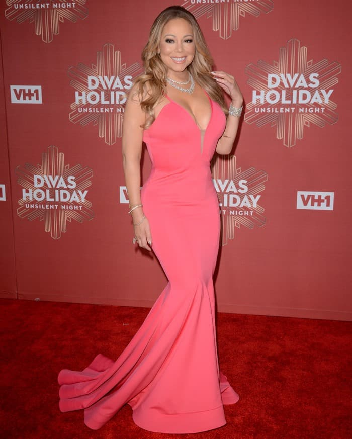 Mariah Carey Drops Jaws in Pink Michael Costello Gown