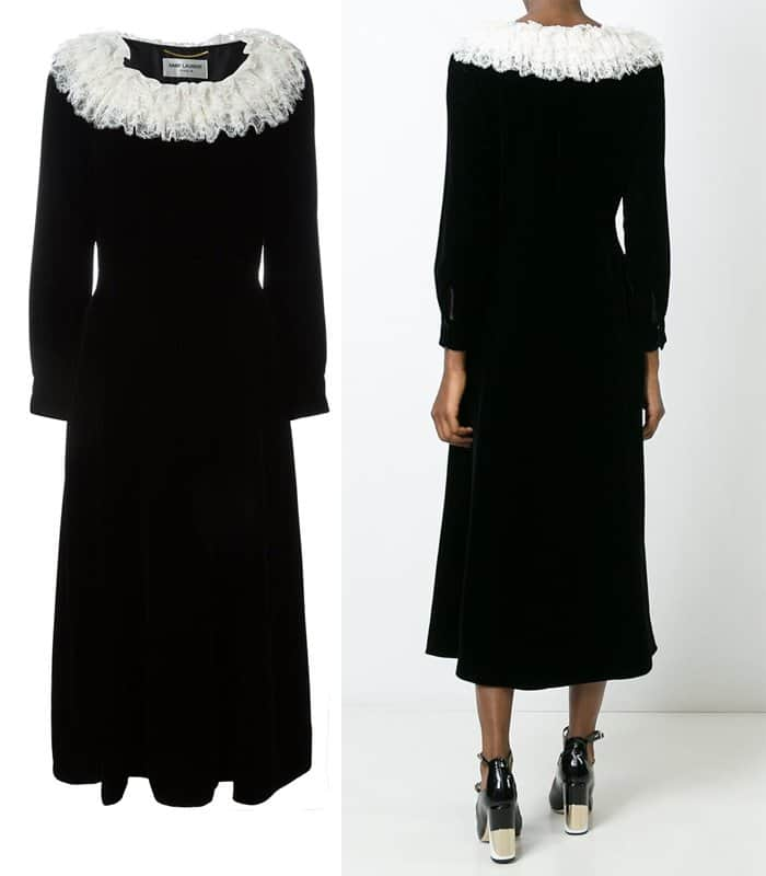 saint-laurent-lace-trim-velvet-dress