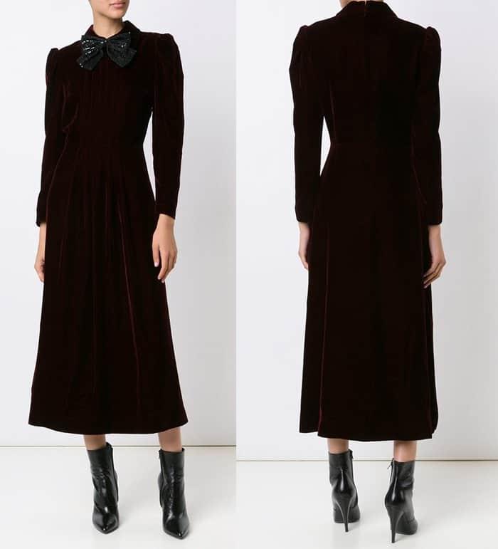 saint-laurent-velvet-bow-front-dress