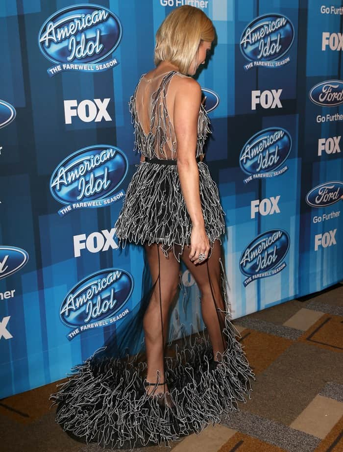 Carrie Underwood wore a Yanina Couture gown at Fox's American Idol Finale in Los Angeles on April 7, 2016