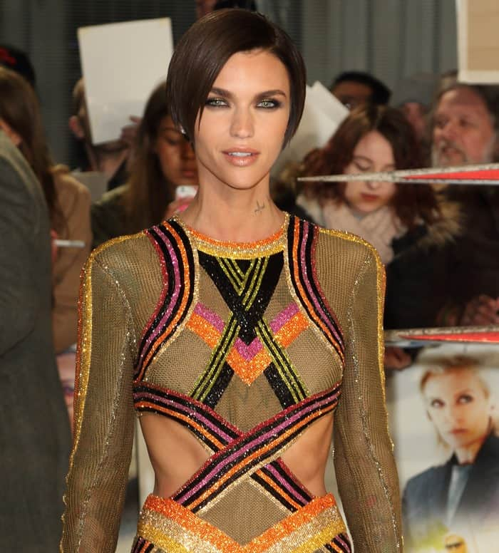 Ruby Rose Flaunts Abs In Tacky Balmain Multicolored Lurex Gown