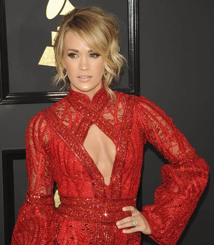 Carrie Underwood at the 59th Annual Grammy Awards in Los Angeles