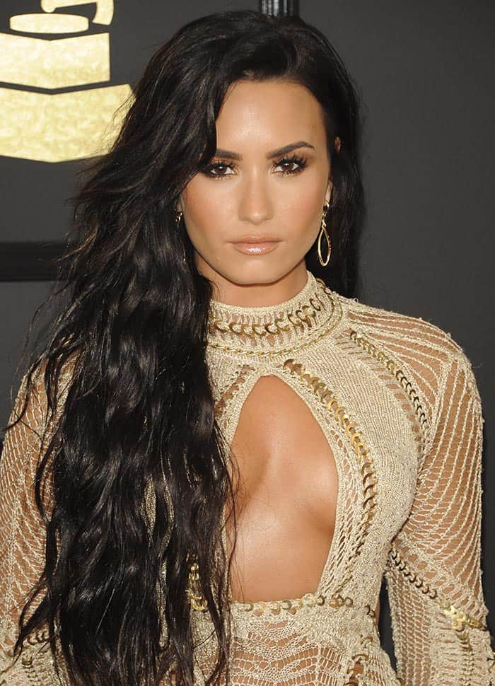 Demi Lovato at the 59th Annual Grammy Awards in Los Angeles