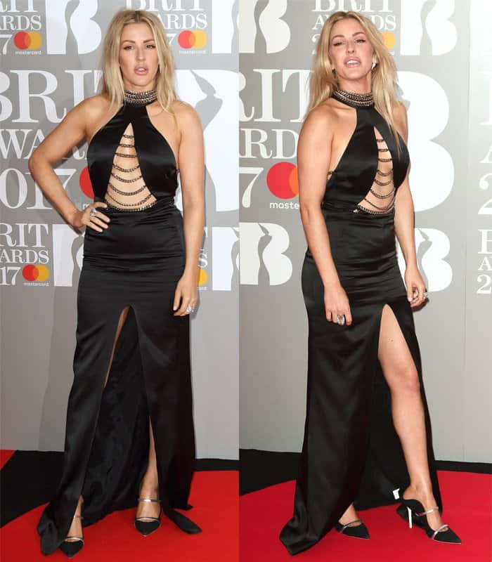 Elie Goulding wears a Philipp Plein cut-out dress at the Brit Awards 2017