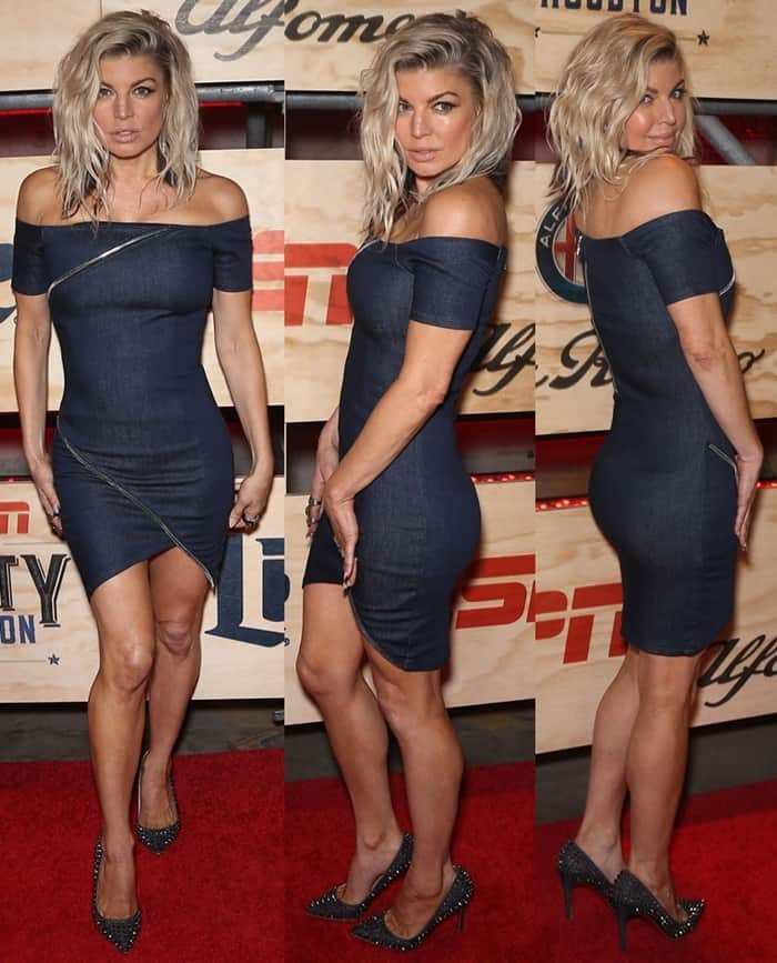 Fergie posed seductively in a figure-hugging denim dress that showcased her Fergalicious curves