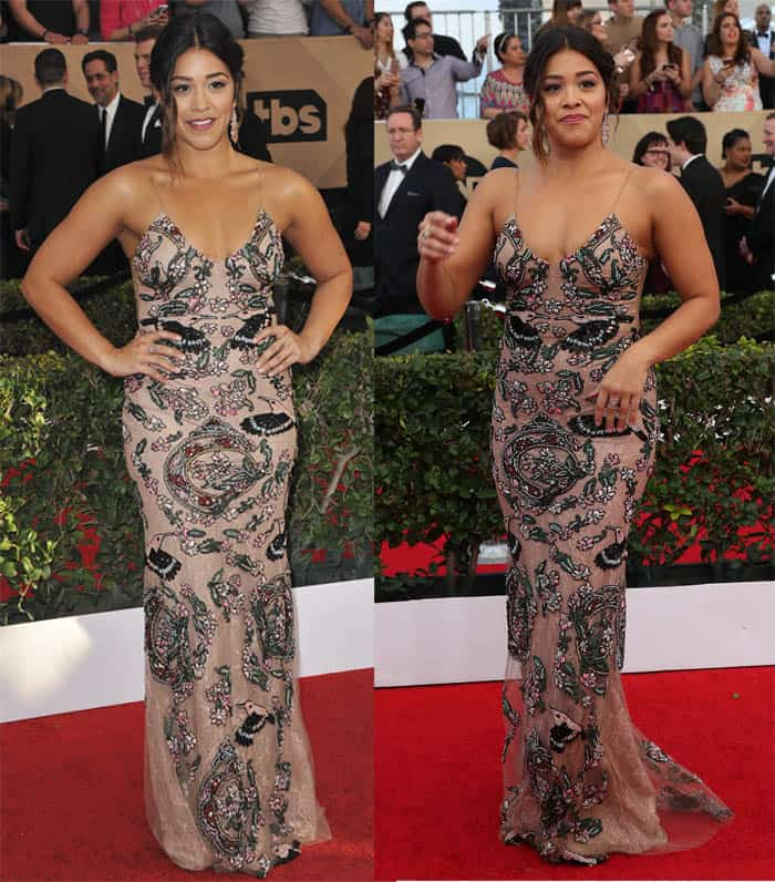 Gina Rodriguez in an embroidered dress