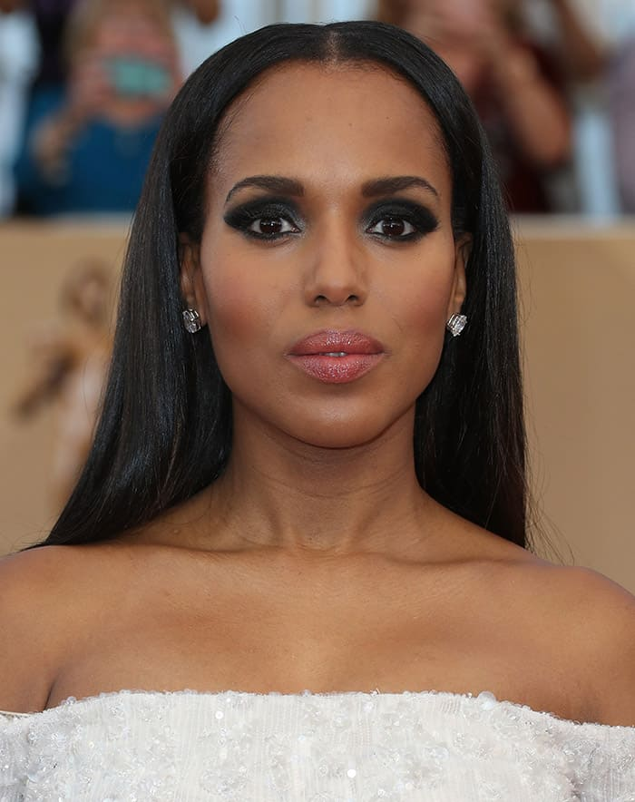 Kerry Washington in a white gown