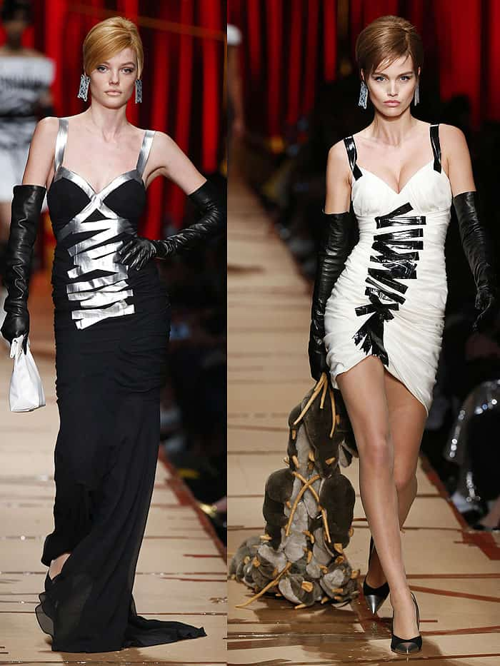 Models in duct-taped dresses with a rolled-up paper bag and a stole made out of stuffed rats as accessories