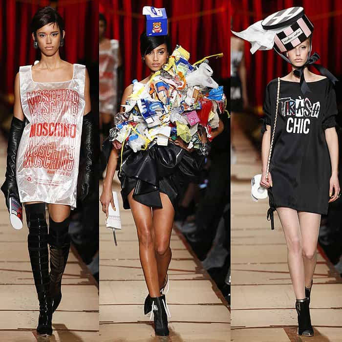 """Models wearing a Moschino plastic bag, a Hefty bag dress topped with a pile of trash, and a """"Trash Chic"""" dress"""