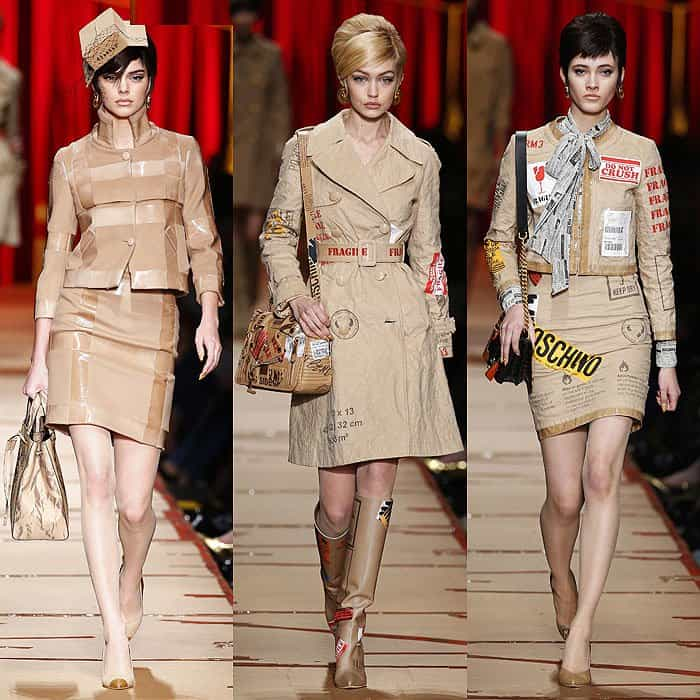 """Kendall Jenner and Gigi Hadid in """"Cardboard Couture"""" at the Moschino fall 2017 fashion show"""