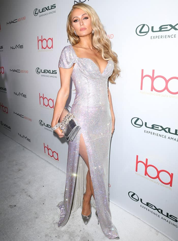 Paris Hilton attends the Hollywood Beauty Awards in August Getty Atelier gown.