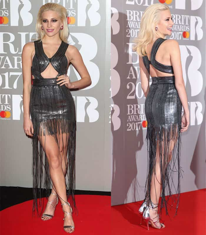 Pixie Lott looks dated in a fringed dress at the Brit Awards 2017