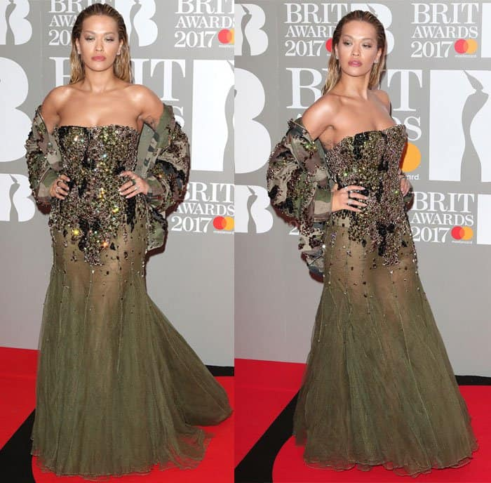 Rita Ora wears a sequined algae-like gown at the Brit Awards 2017