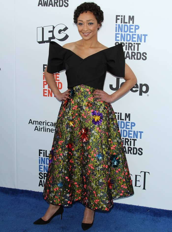 Ruth Negga on the blue carpet 2017 Film Independent Spirit Awards held at the Santa Monica Pier in Santa Monica, California, on February 25, 2017