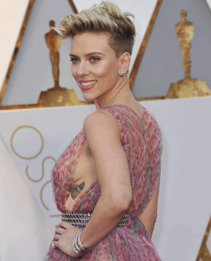 Scarlett Johansson in Azzedine Alaïa Silk Chiffon Printed Gown