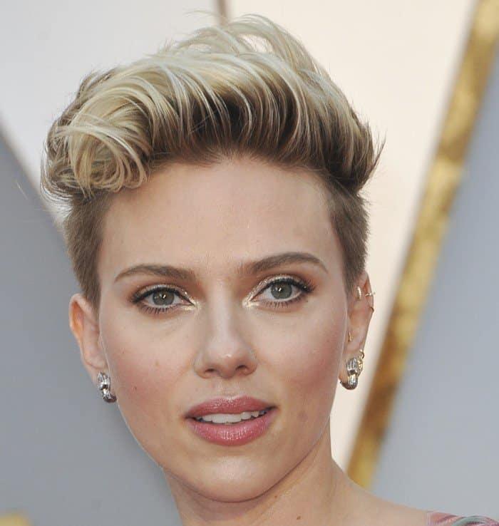 Scarlett Johansson wearing Fred Leighton 19th Century Diamond Chandelier Earrings