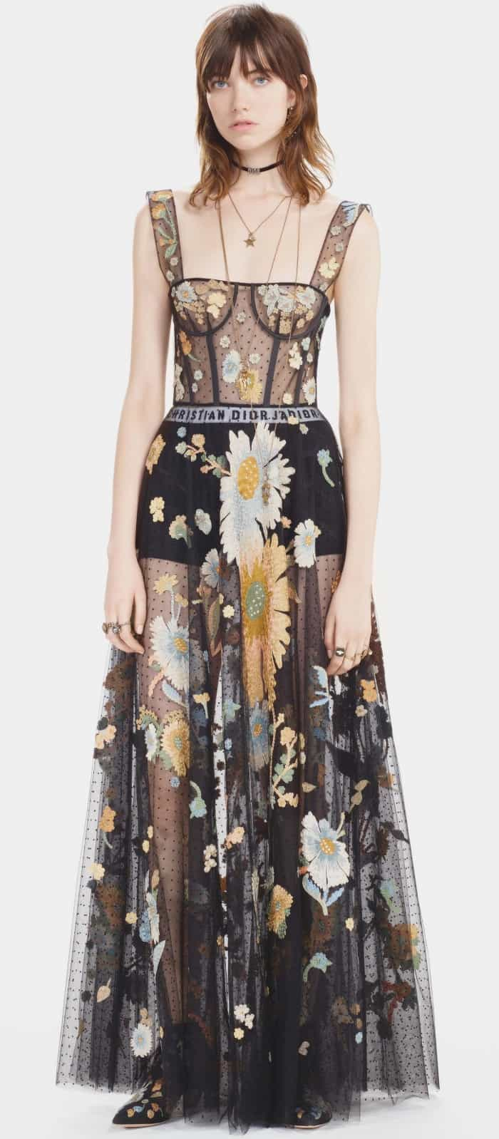 Christian Dior Pre-Fall 2017 Floral Embroidered Sheer Gown