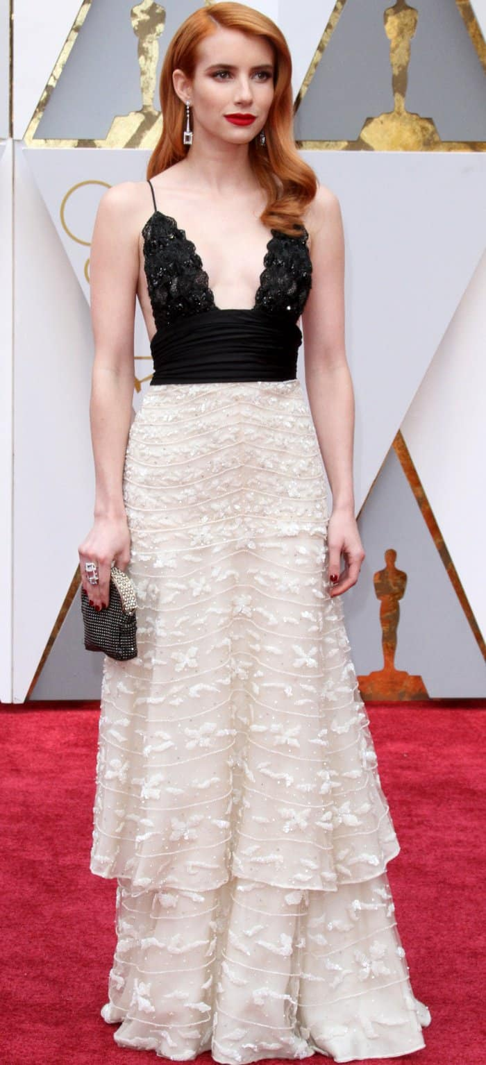 Emma Roberts wearing a vintage Armani Privé sustainable gown made in collaboration with Red Carpet Green Dress