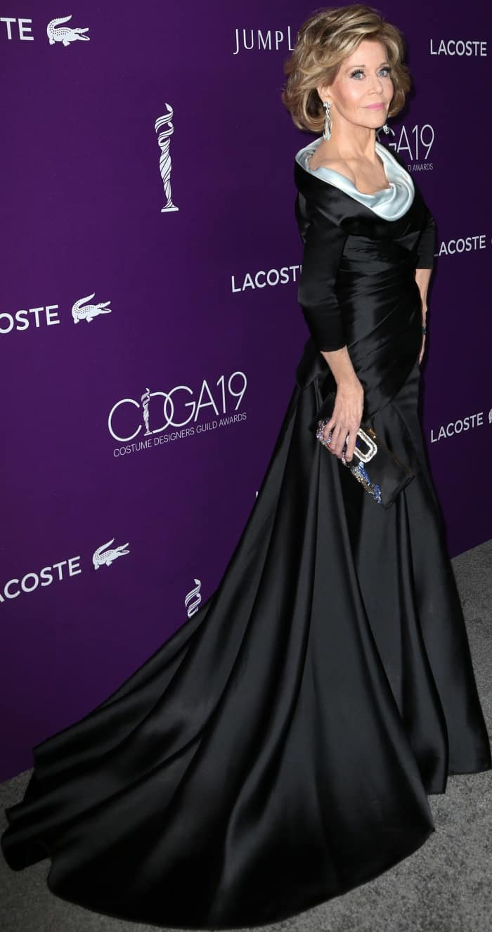 Jane Fonda Elegant In Black Atelier Versace Dress