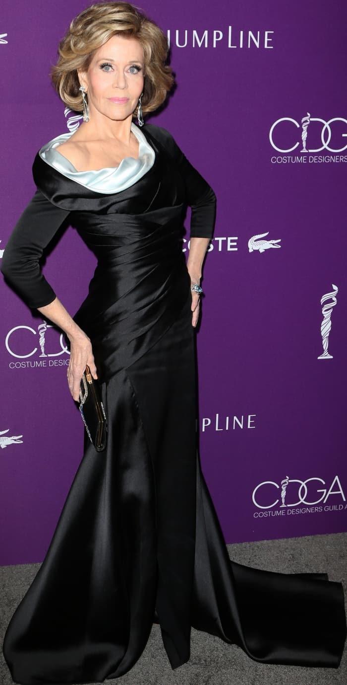 Jane Fonda Elegant in Black Atelier Versace Dress