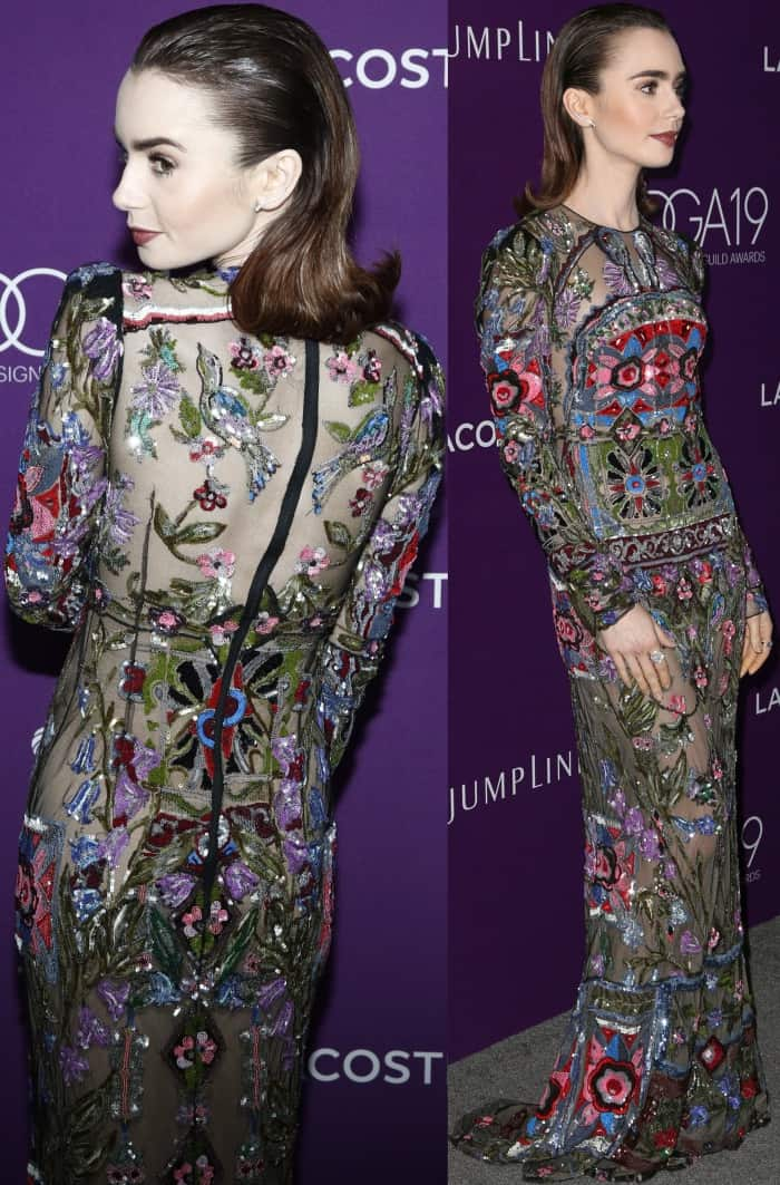 Lily Collins wearing Alexander McQueen at the 19th Costume Designers Guild Awards
