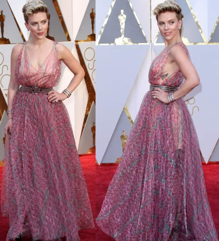 Scarlett Johansson wearing a pink printed gown from Azzedine Alaia at the 2017 Oscars