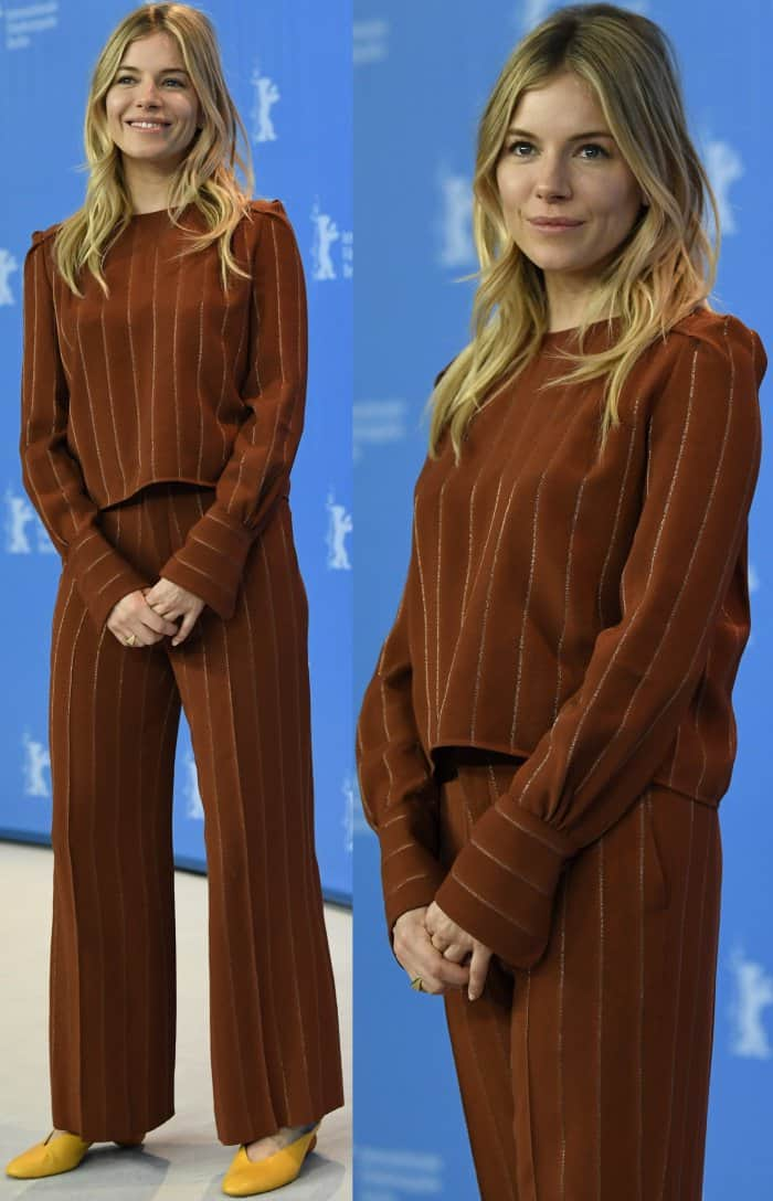 Sienna Miller wearing a tan two-piece striped suit