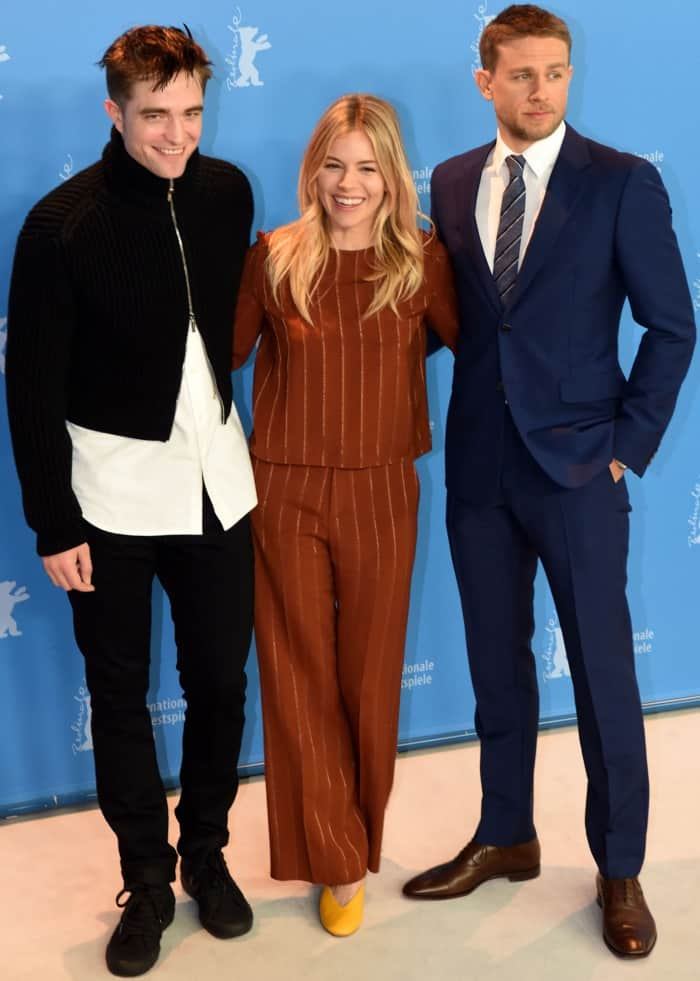 Sienna Miller with Robert Pattinson and Charlie Hunnam at 'The Lost City of Z' press conference