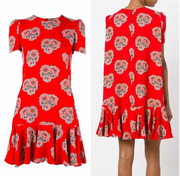 Alexander McQueen Rose Print Flounce Dress