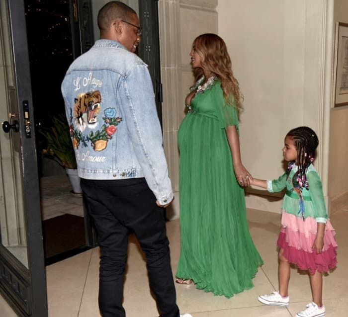 Beyonce and Blue Ivy wearing matching Gucci frocks.