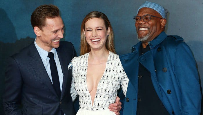Brie Larson with her co-stars Tom Hiddleston and Samuel L. Jackson