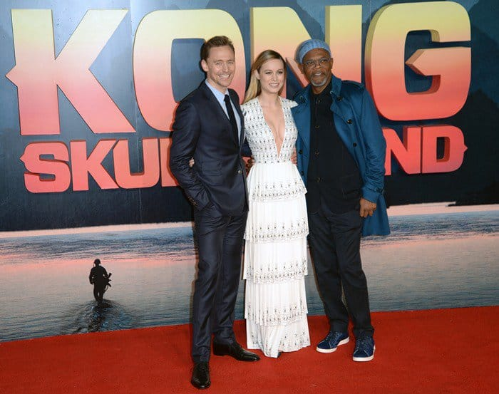 Tom Hiddleston, Brie Larson, and Samuel L. Jackson at the premiere of 'Kong: Skull Island' at Cineworld Empire Leicester Square in London, England, on February 28, 2017