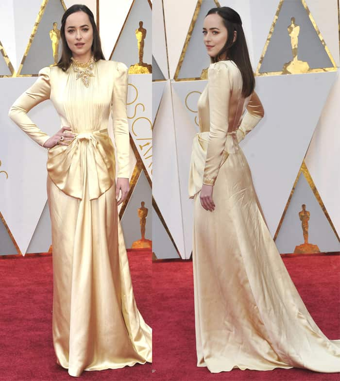 Dakota Johnson wears a modest-looking Gucci gown