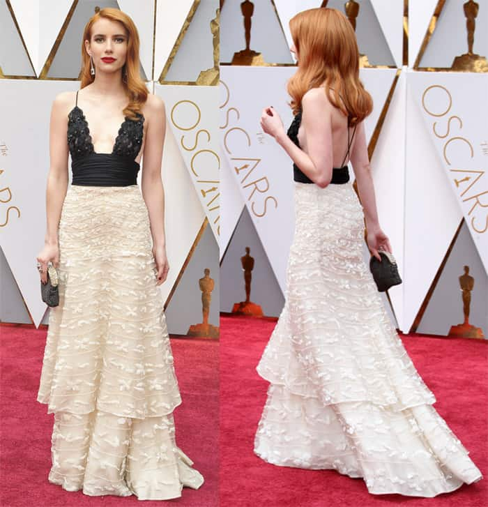 Emma Roberts opts for a dainty lace gown from Armani Prive