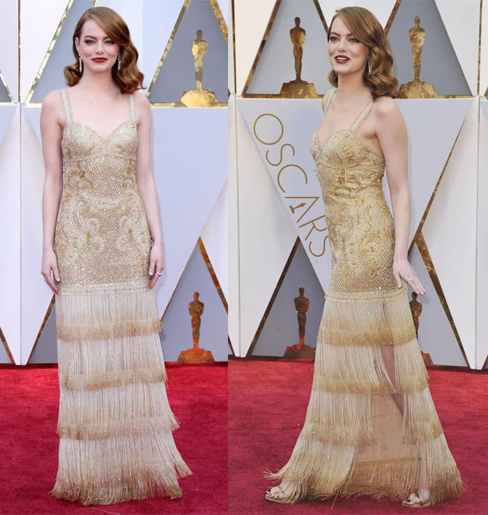 Emma Stone wearing a Givenchy '40s-inspired gown