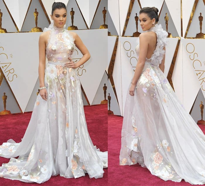 Hailee Steinfeld wears a bridal Ralph & Russo gown