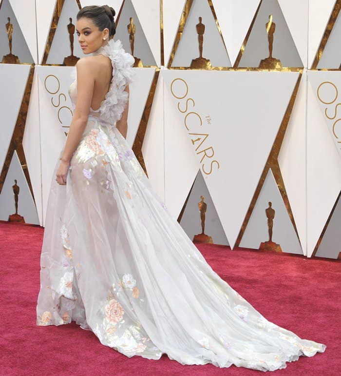 Hailee Steinfeld Dreamy in Ruffled Floral Ralph & Russo Gown
