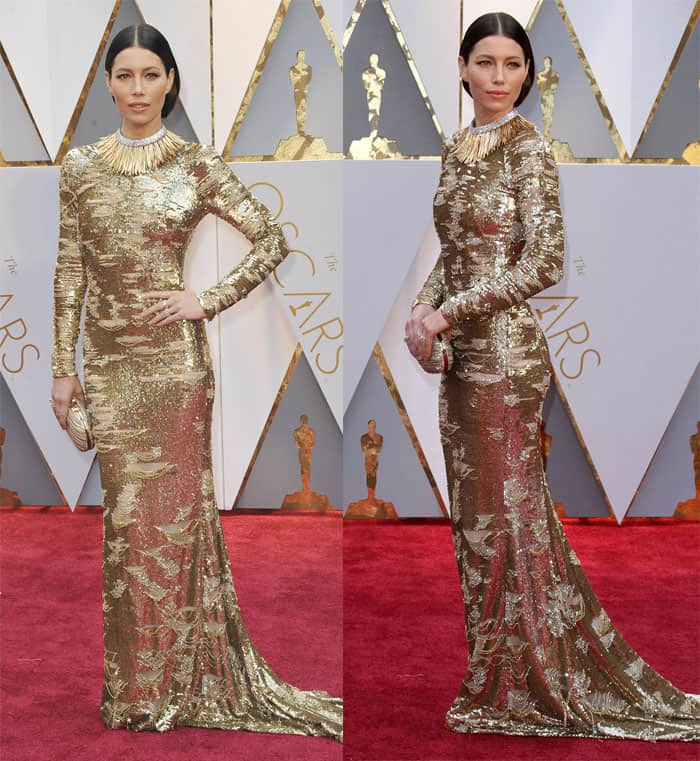 Jessica Biel makes a statement in gold Kaufman Franco gown.