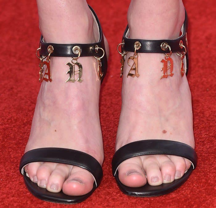 Laura Carmichael wearing embellished sandals
