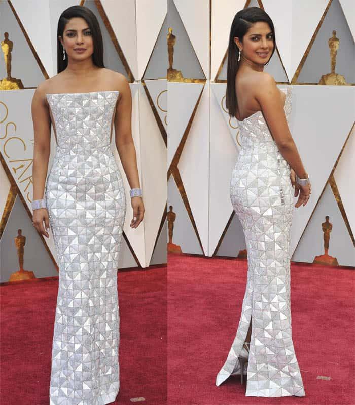 Priyanka Chopra wears geometric-patterned gown.