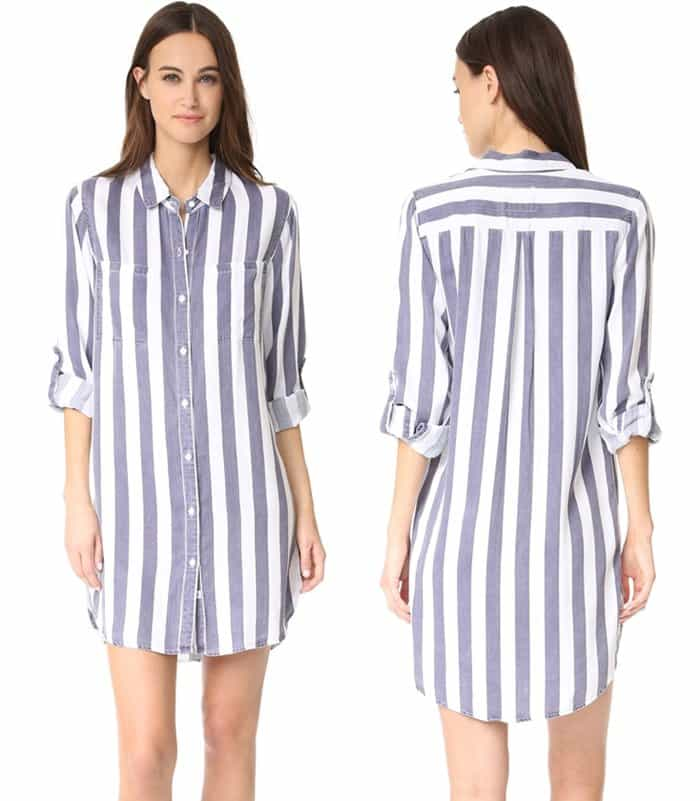 A striped shirtdress in a figure-skimming silhouette