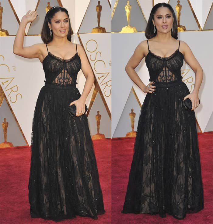 Salma Hayek looks queenly in a sheer black gown.