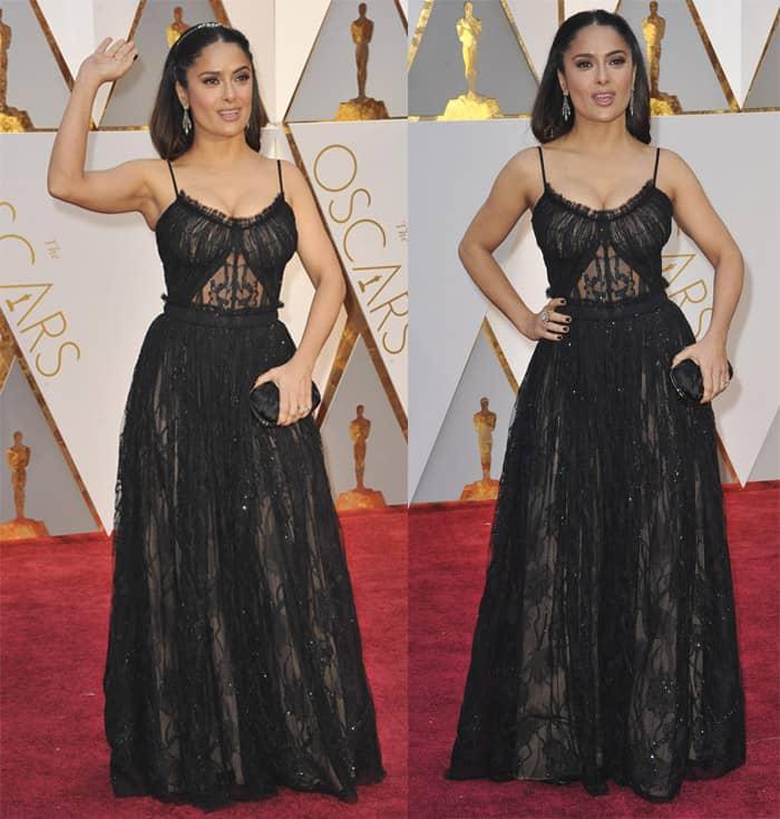 Salma Hayek looks queenly in a sheer black gown.