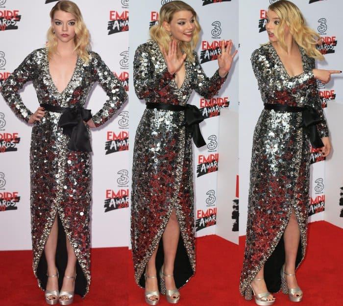 Anya Taylor-Joy wearing a two-tone embellished crossover dress from Miu Miu and silver platform sandals at the 2017 Three Empire Awards