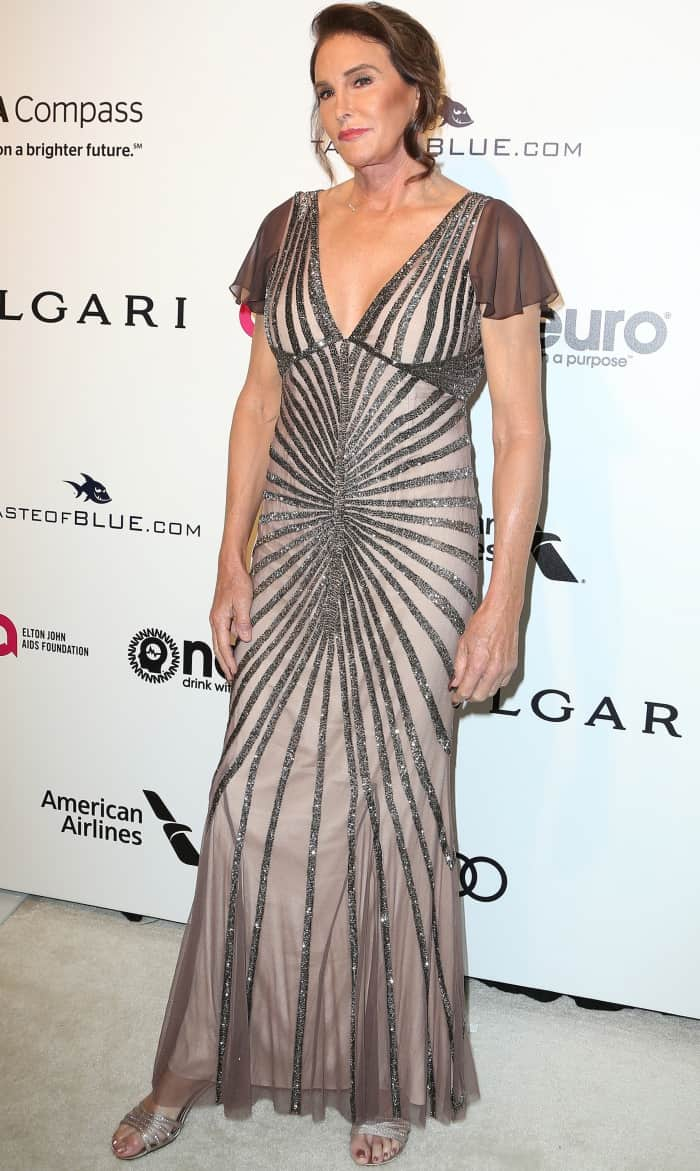 Caitlyn Jenner in a shimmery gown from Rachel Gilbert