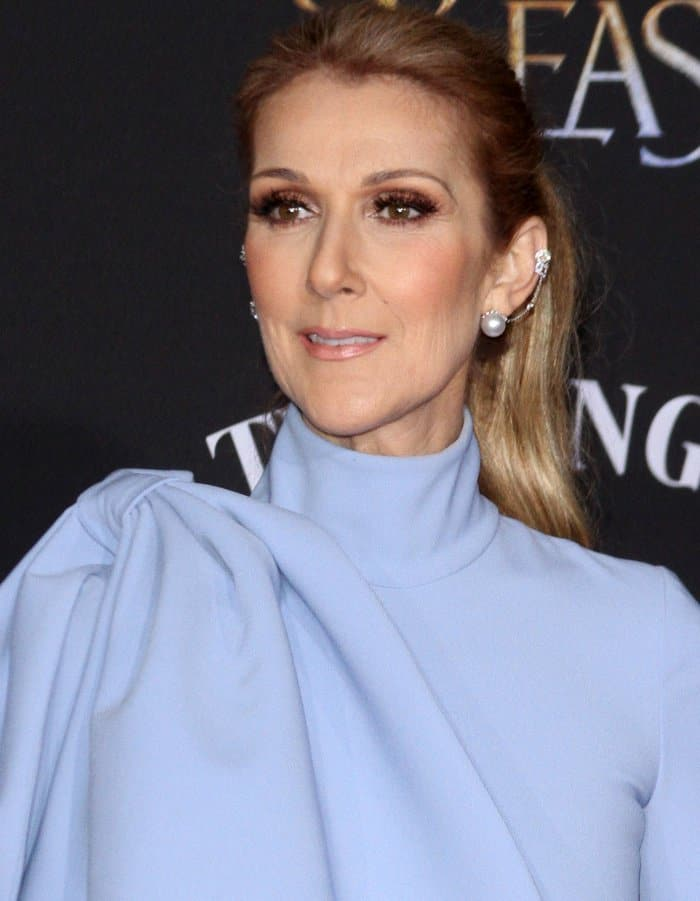 Celine Dion wearing a powder blue Christian Siriano gown at the 'Beauty and the Beast' Hollywood premiere