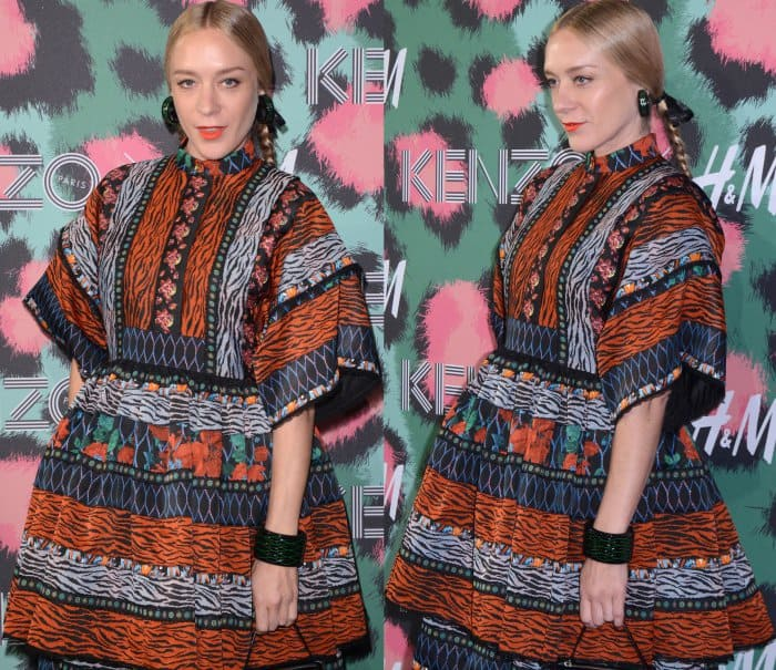 Chloe Sevigny wearing a Kenzo x H&M patterned maxi dress at the Kenzo x H&M fashion show