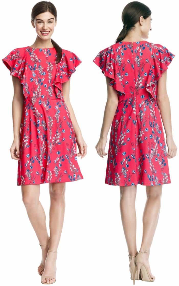 Draper James Dunaway Vines Ruffle Knit Dress